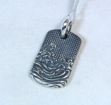 New David Yurman Men's Waves 25mm Dog Tag Pendant Charm Sterling Silver $295