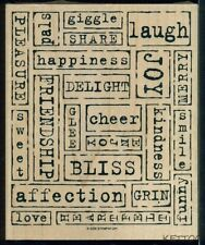 LARGE 6 1/8 x 5 NEW Wood Mounted Rubber Stamp MIXED POSITIVE WORDS Scrapbooking
