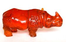 Japanese Amber Netsuke -Thunderhoof RHINO,signed by artist