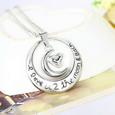 1PC Fashion Silver plated Circle Heart Moon Hollow Pendant Necklace Jewelry