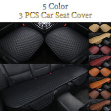 3PCS Luxury Full Seat PU Leather Car Seat Cover Cushions 3D Surround Breathable