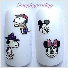 Nail Art  Decals/Stickers/ Transfers  Glitter Minnie, Mickey Mouse,Snoopy #152