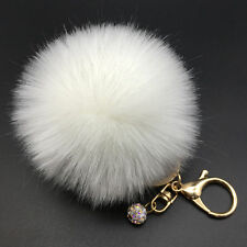 8CM Rabbit Fur Fluffy Pompom Ball Handbag Car Pendant Charm Key Chain Keyring Ca
