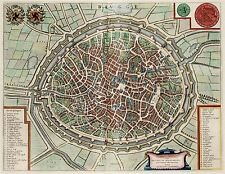 MAP ANTIQUE 1649 SANDERS BRUGES CITY PLAN OLD LARGE REPLICA POSTER PRINT PAM0074