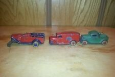 3 Barclay 1920's/30's slush cast vehicles Bakery Truck Tow Fire Engine Cars Toy