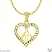 Heart Peace Hippie W Swarovski Crystal Clear New Charm Pendant Gold Plated Gift