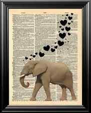 ELEPHANT AND HEART BUBBLES UPCYCLED VINTAGE DICTIONARY PAGE WALL ART PRINT