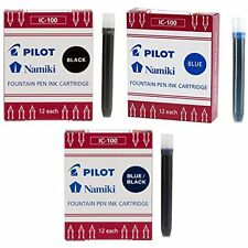 Pilot Namiki IC50 Fountain Pen Ink Cartridge Black, Blue, Blue/Black -3 Pack Tot
