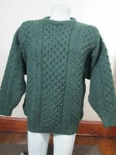 Aran Crafts Green Irish Fisherman Heavy Wool Cable Knit Crew Sweater Sz XL