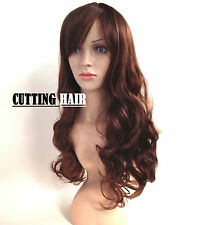 Brown Dark Auburn Mix SKIN Top Full Wig Long Curly Layers Wig Hairpiece 0013