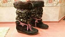 Tecnica Womens Black & Speckled Fur Snow Winter Boots Sz 9 US labeled 41/36