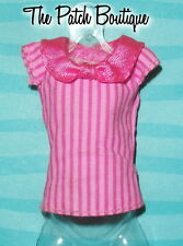 MONSTER HIGH DRACULAURA COFFIN BEAN DOLL OUTFIT REPLACEMENT PINK STRIPE SHIRT