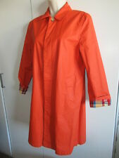 RALPH LAUREN ~Blue Label~ Vinyl Rain Jacket Coat ORANGE LINED Women's Small