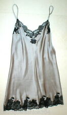 New NWT Designer Josie Natori Silk Lace Womens M Silver Black Chemise Gown Night