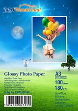 100 Sheets A3  High Quality High Gloss  180 gsm Photo Paper by LW  FREE P&P