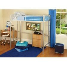 Loft Twin Bunk Bed Silver Metal Desk Kids Bedroom Furniture Storage Side Ladders