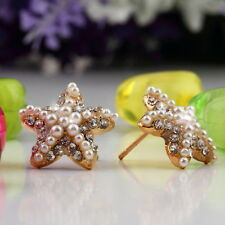 Fashion Alloy Gold Rhinestone & Imit. Pearl Starfish Earrings Studs Rubber Backs