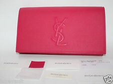 NWT NIB YSL YVES SAINT LAURENT BELLE DU JOUR CLUTCH FUSCHIA LEATHER