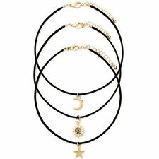 3pcs Retro Charm Ladies Gold Star Moon Sun Pendan Black Cord Choker Necklace