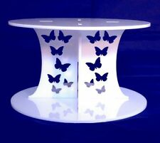 White Acrylic Butterflies Cross Pillars 15x15cm 10cm H Wedding/Party Cake Stands