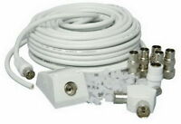 TV AERIAL COAXIAL CABLE 15M EXTENSION KIT FREEVIEW CABLE PLUGS COAX LEAD