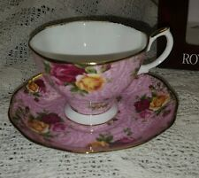NIB Royal Albert Old Country Roses Dusky Pink Lace Cup And Saucer
