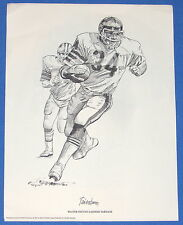 1981 CHICAGO BEARS WALTER PAYTON GATHERS YARDAGE----PENCIL DRAWING PRINT POSTER!