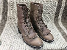 LAREDO BROWN LEATHER WESTERN KILTIE GRANNY VINTAGE LACER PACKER BOOTS SZ 7.5 M