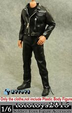 "ZYTOYS 1/6 Black Leather locomotive Jacket Suit For 12"" T800 Arnold Figure Model"