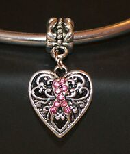 PINK DIAMANTE BREAST CANCER RIBBON HEART DANGLY PENDANT Silver European Charm