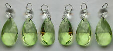 CHANDELIER CUT GLASS CRYSTALS SAGE GREEN DROPS OVAL CHRISTMAS TREE DECORATIONS