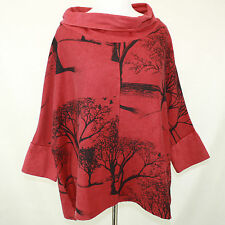 NEW NWT Apu A People United Cowl Neck Tree Berry Cotton Terry Blouse sweater 1X