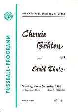 DDR-Liga 81/82 BSG Stahl Thale - BSG Chemie Böhlen  06.12.1981