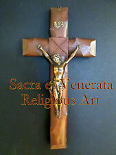 "16"" by 8"" Antique Altar Wall Hanging Wood Carved Cross Metal Corpus Crucifix"