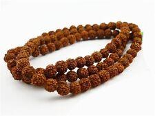 "Large Long 108 8mm Rudraksha Bodhi Seeds Meditate Prayer Beads Mala Necklace 34"""
