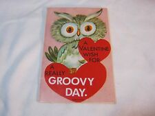 VALENTINE CARD OWL WISH FOR A GROOVY DAY VINTAGE        T*
