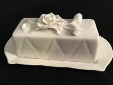 Lovely Grace's Teaware White Covered Butter Dish with Roses New Unused Gift Idea