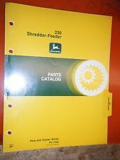 JOHN DEERE 230 SHREDDER-FEEDER FACTORY PARTS CATALOG MANUAL PC-1544