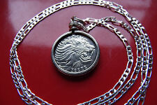"Handsome Classic Roaring Lion Coin Pendant on a 30"" 925 Silver Snake Chain"