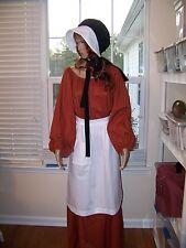 Prairie Reenactment  Bonnet Pioneer Women's White Apron &  Black/White Bonnet