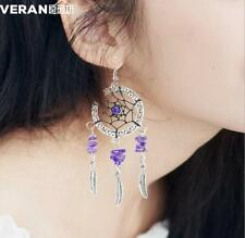 Purple Amethyst Dream Catcher Earrings Silver Dangle Corona Suncatcher