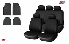 BLACK CAR SEAT COVERS & RUBBER CAR MATS SET FOR VW TIGUAN CADDY PASSAT BORA POLO