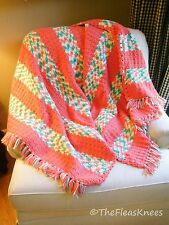 "Coral & Green Afghan Hand Crocheted Large 74"" x 44"" - Shabby Chic SWEET!"
