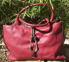 CATS Red Leather Bag Handbag Bag Purse Tote Made in Spain