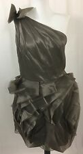 White by Vera Wang Gray Charcoal One Shoulder Organza Bridesmaid Dress 12