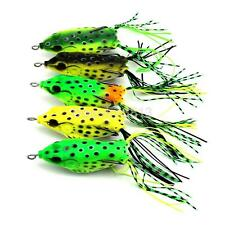Lot 5 Rubber Soft Bass Mini Frog Baits Fishing Lures Tackle Hook Top water 5.5cm