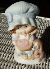 Miss Mitzie by Heartline Figurine Girl with Mixing Bowl and Puppy Dog Taiwan
