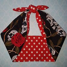 skull  roses red polka dot mexican bandana headband, hairband