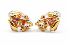 Deakin and Francis Sterling Silver & Enamel Orange Frog Cufflinks Dart Tree Frog