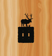 ELK DOUBLE SWITCH PLATE COVER-CLINGERMANS #ELK2-2 BLACK TEXTURED POLY